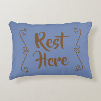 Rest Here Rectangular Pillow (Blue w/ Brown)