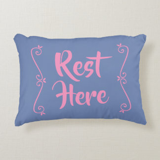 Rest Here Rectangular Pillow (Blue w/ Pink)