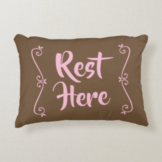 Rest Here Rectangular Pillow (Brown w/ Pale Pink)