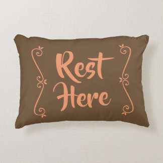 Rest Here Rectangular Pillow (Brown w/ Peach)