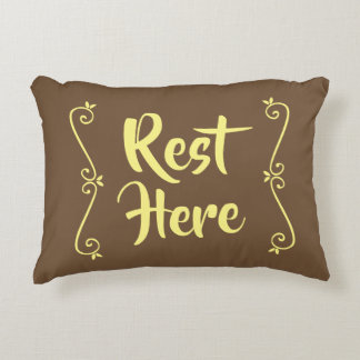 Rest Here Rectangular Pillow (Brown w/ Yellow)