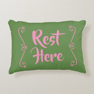 Rest Here Rectangular Pillow (Green w/ Pink)