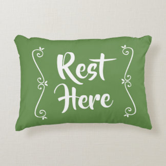 Rest Here Rectangular Pillow (Green w/ White)