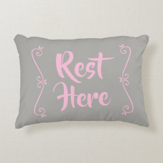 Rest Here Rectangular Pillow (Grey w/ Pale Pink)