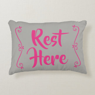 Rest Here Rectangular Pillow (Grey with Hot Pink)