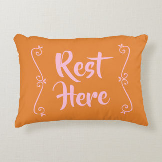 Rest Here Rectangular Pillow (Orange w/ Pale Pink)