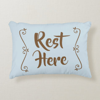 Rest Here Rectangular Pillow (Pale Blue w/ Brown)