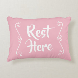 Rest Here Rectangular Pillow (Pink w/ White)