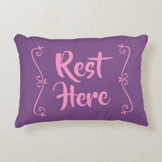 Rest Here Rectangular Pillow (Purple w/ Pink)