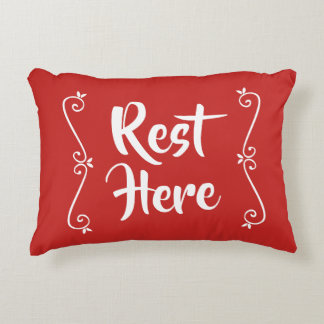Rest Here Rectangular Pillow (Red w/ White)