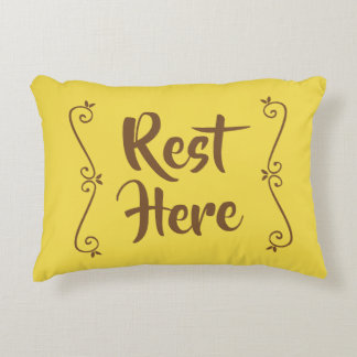 Rest Here Rectangular Pillow (Yellow w/ Brown)