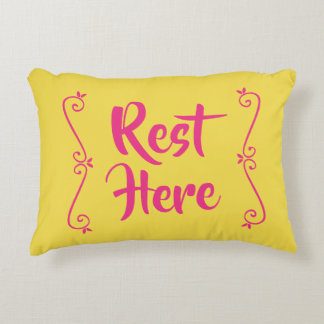 Rest Here Rectangular Pillow (Yellow W/ Hot Pink)