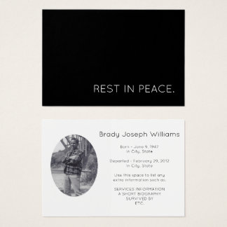rest in peace. business card