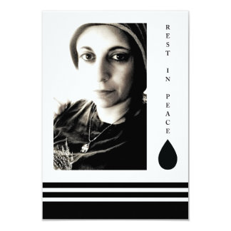 "rest in peace tear drop 3.5"" x 5"" invitation card"