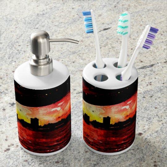 Rest Matthew 11 28-30 Soap Dispenser And Toothbrush Holder