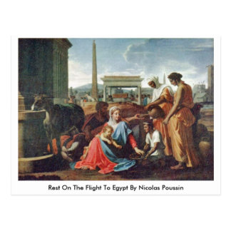 Rest On The Flight To Egypt By Nicolas Poussin Postcard
