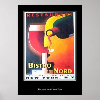 Restaurant Bistro Du Nord vintage Retro Print