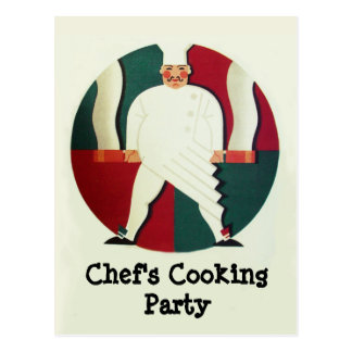 RESTAURANT CHEF'S COOKING PARTY Culinary Recipe Postcard