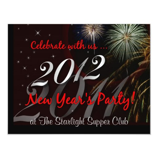 "Restaurant - Club - New Year's Eve Party 4.25"" X 5.5"" Invitation Card"