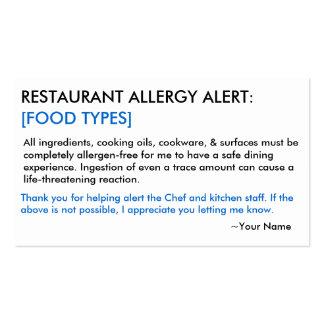 Restaurant d'allergie alimentaire et carte de GLAC Carte De Visite Standard