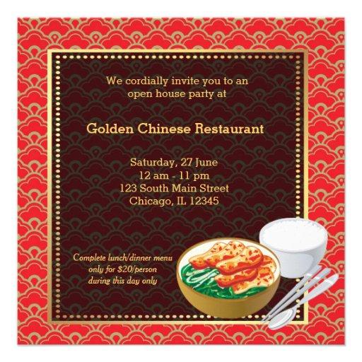 Restaurant de Chinois d'ouverture officielle Invitations Personnalisées
