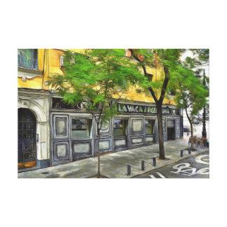 Restaurant in a quiet street of Madrid. Canvas Print