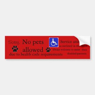 Restaurant no pets sign red bumper sticker