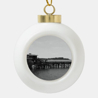 Restaurant on the Water Ceramic Ball Ornament