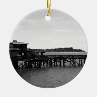 Restaurant on the Water Round Ceramic Ornament