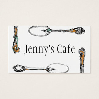 restaurant or cafe business card, antique cutlery business card