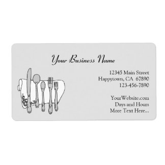 Restaurant Silverware Advertising Custom Labels