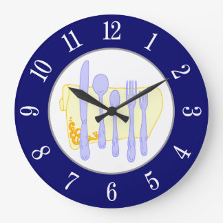 Restaurant Silverware on Blue White Numbers Clock