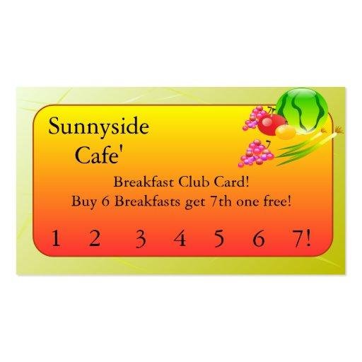 Restaurant Supplies   Breakfast club cards Business Card Templates