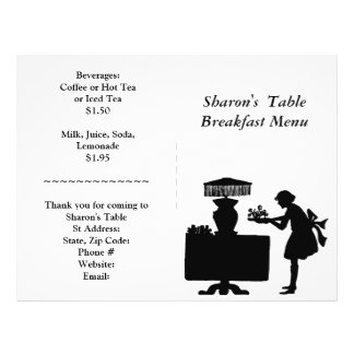 Restaurant Supplies, Breakfast Menu Customizable