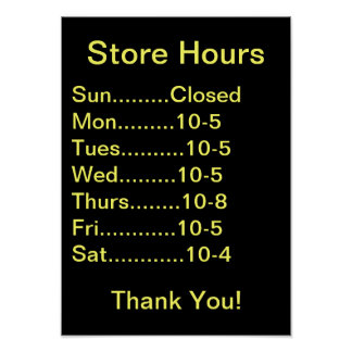 Restaurant Supplies, Business Hours sign, generic Poster