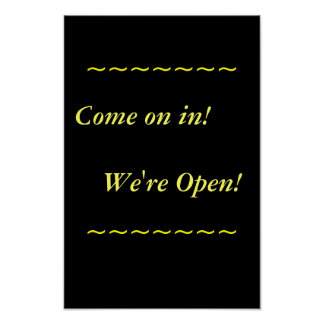 Restaurant Supplies, Open Sign, Black and Gold Poster