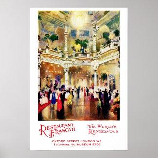 Restaurant vintage Frascati de publicité d'âge de Poster