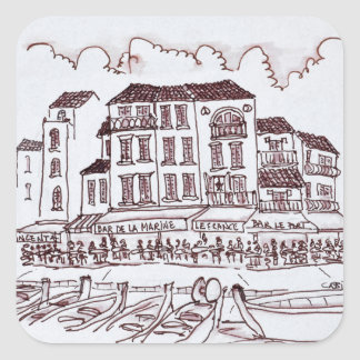 Restaurants Waterfront | Cassis, France Square Sticker