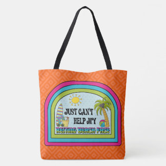 Resting Beach Face Retro Tote (Electric Orange)