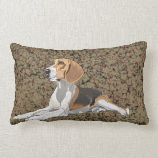 Resting Beagle against a marbled background Lumbar Pillow