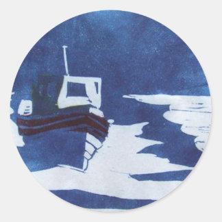 resting boat classic round sticker