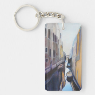 Resting Boats along Venice Canals Keychain