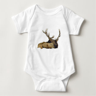 Resting bull elk baby bodysuit