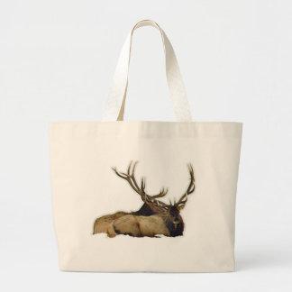 Resting bull elk large tote bag