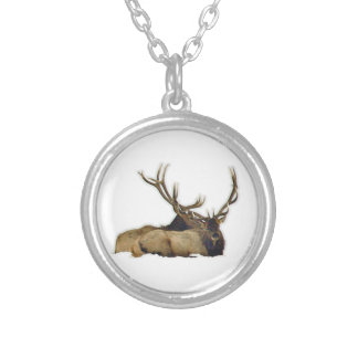 Resting bull elk silver plated necklace