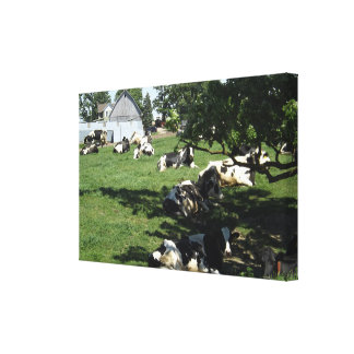 Resting Cows on the Farm Wrapped Canvas Art