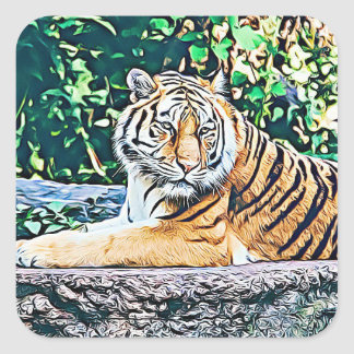 Resting Cute Tiger Sticker