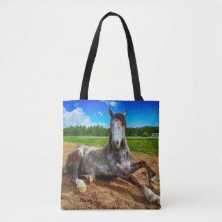 Resting Dapple Grey Horse Tote Bag