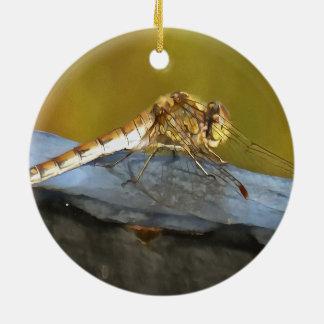 Resting Dragonfly Ceramic Ornament