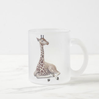 Resting Giraffe Frosted Glass Mug